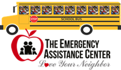 School bus filled with food with words the emergency assistance center