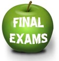 green apple with the word final exams