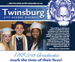 front cover of senior sendoff newsletter with   three graduates