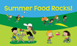 children outside with words summer food rocks