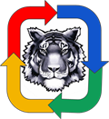 Twinsburg Tiger Logo surrounded by arrows in Google colors of red, blue, green, yellow