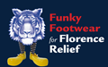 twinsburg tiger wearing striped socks and yellow shoes with words funky footwear for florence relief