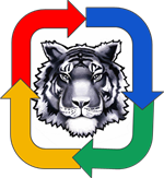 Twinsburg Tiger Logo surrounded by arrows in Google colors