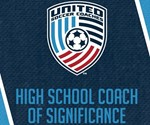 logo with words United Soccer Coaches High School Coach of Significance