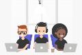 three students sitting at laptops