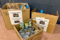 canned goods in boxes