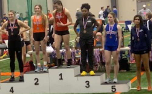 """2020 OATCCC D1 1st-5th and 7th place Long Jump finishers at the Indoor state Championships. Trisha Singh of Twinsburg finished 7th with a mark of 16' - 06.25"""""""