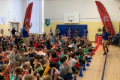 students in gym participating in pta fundraiser