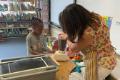 students making paper in blender