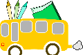 school bus with supplies
