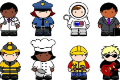 clipart of different people dressed for different careers