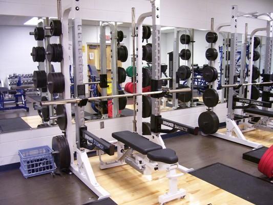 Power racks in the high school weight room