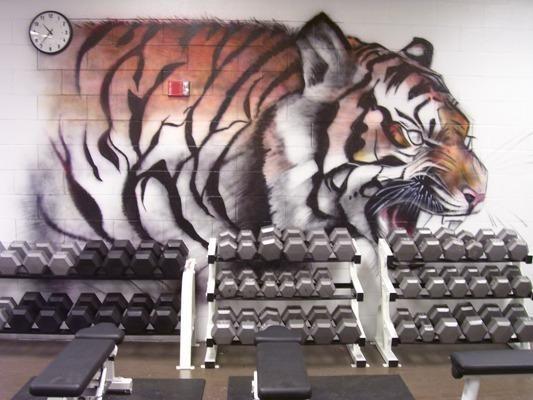 Dumb bells on racks in the high school weight room