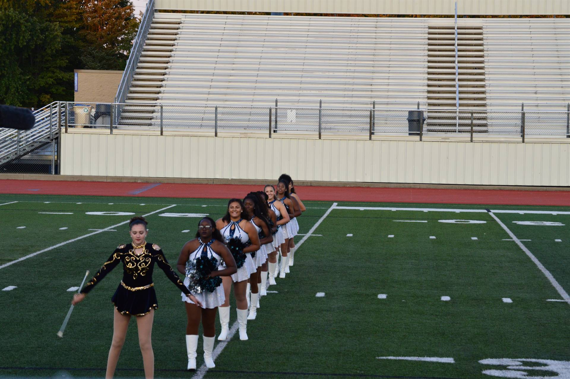 Drill Team and Majorette in a line