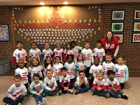 Class of students wearing American flag shirts