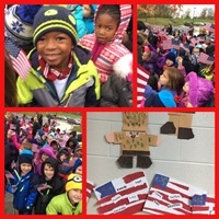 Collage of pictures from Veterans' Day celebration