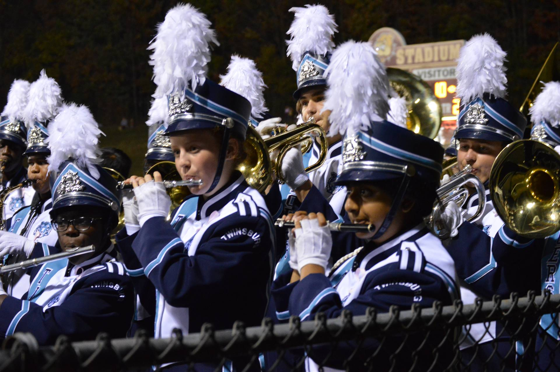 Band students warming up before a performance