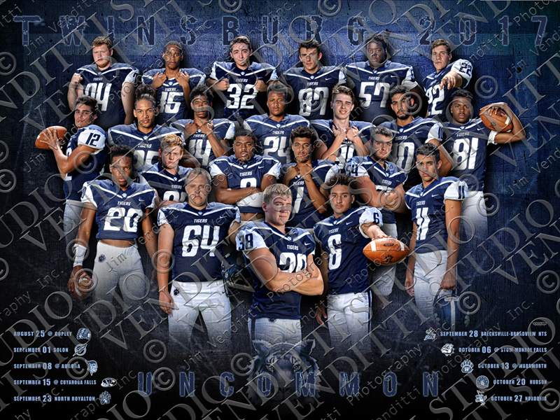 Picture of the 22 seniors wearing their blue jerseys and white game pants