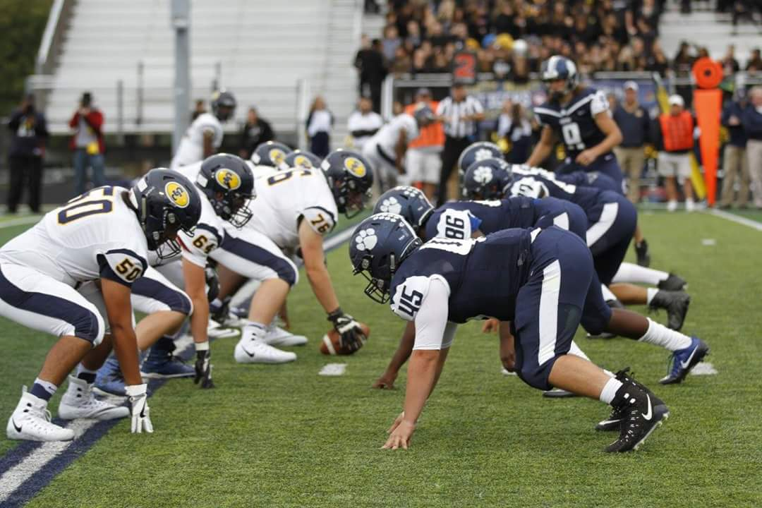Defensive line lined up against the opponent