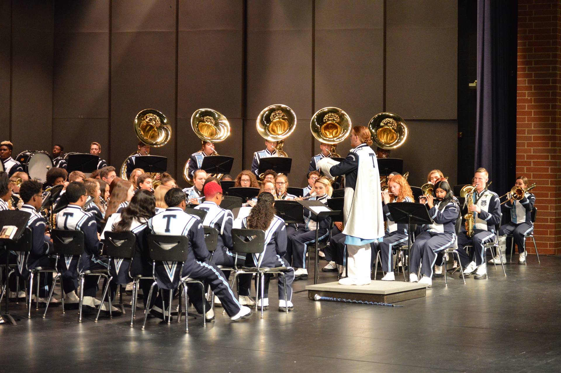 Marching Band on Stage for a Concert