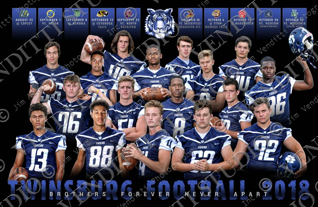 Picture featuring all our seniors with the game schedule