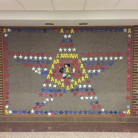 Bulletin board display of star