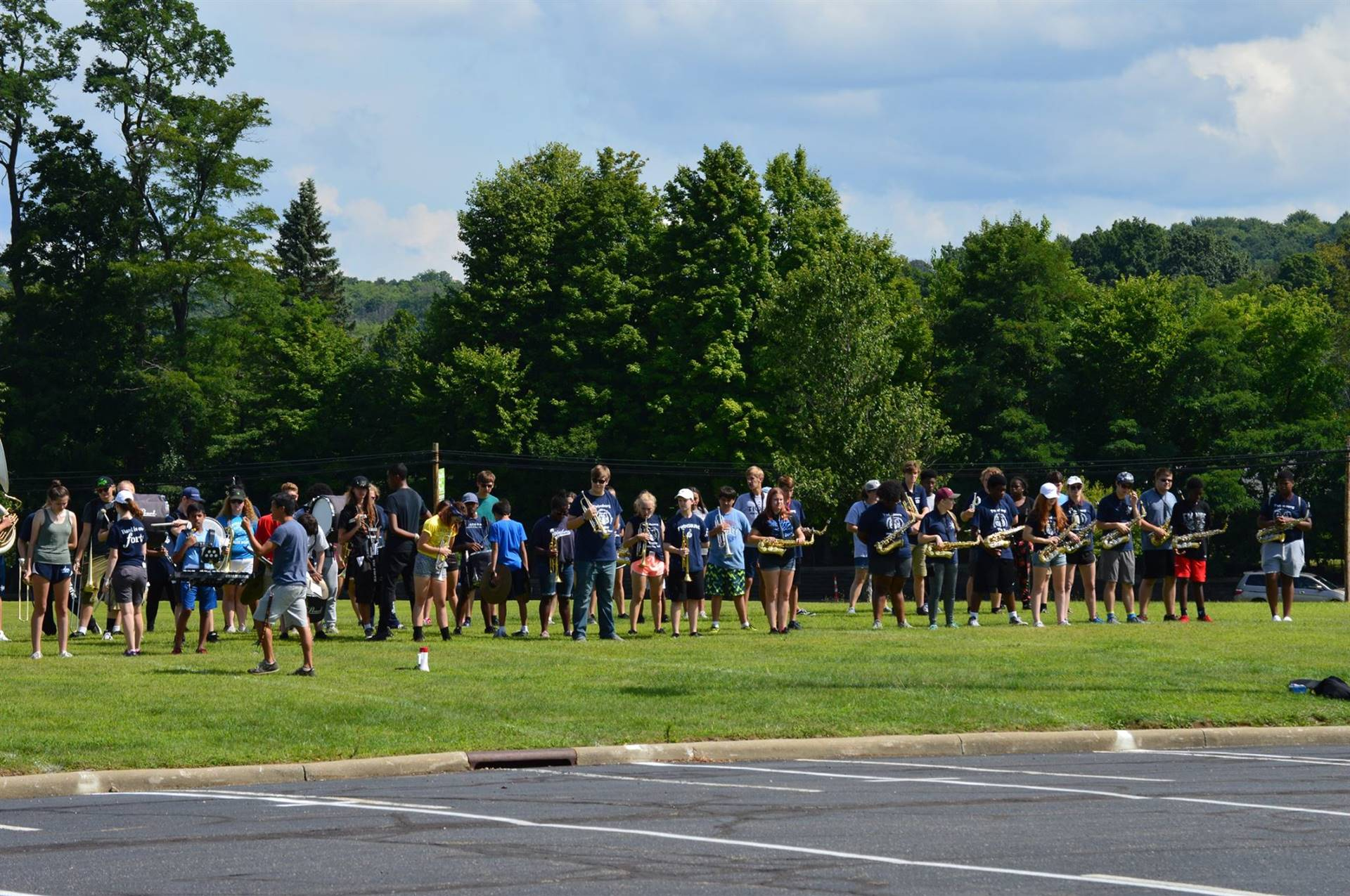 THS Marcching Band Students practicing during Band Camp
