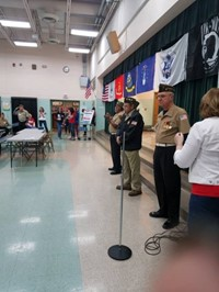veterans in cafeteria participating in an event