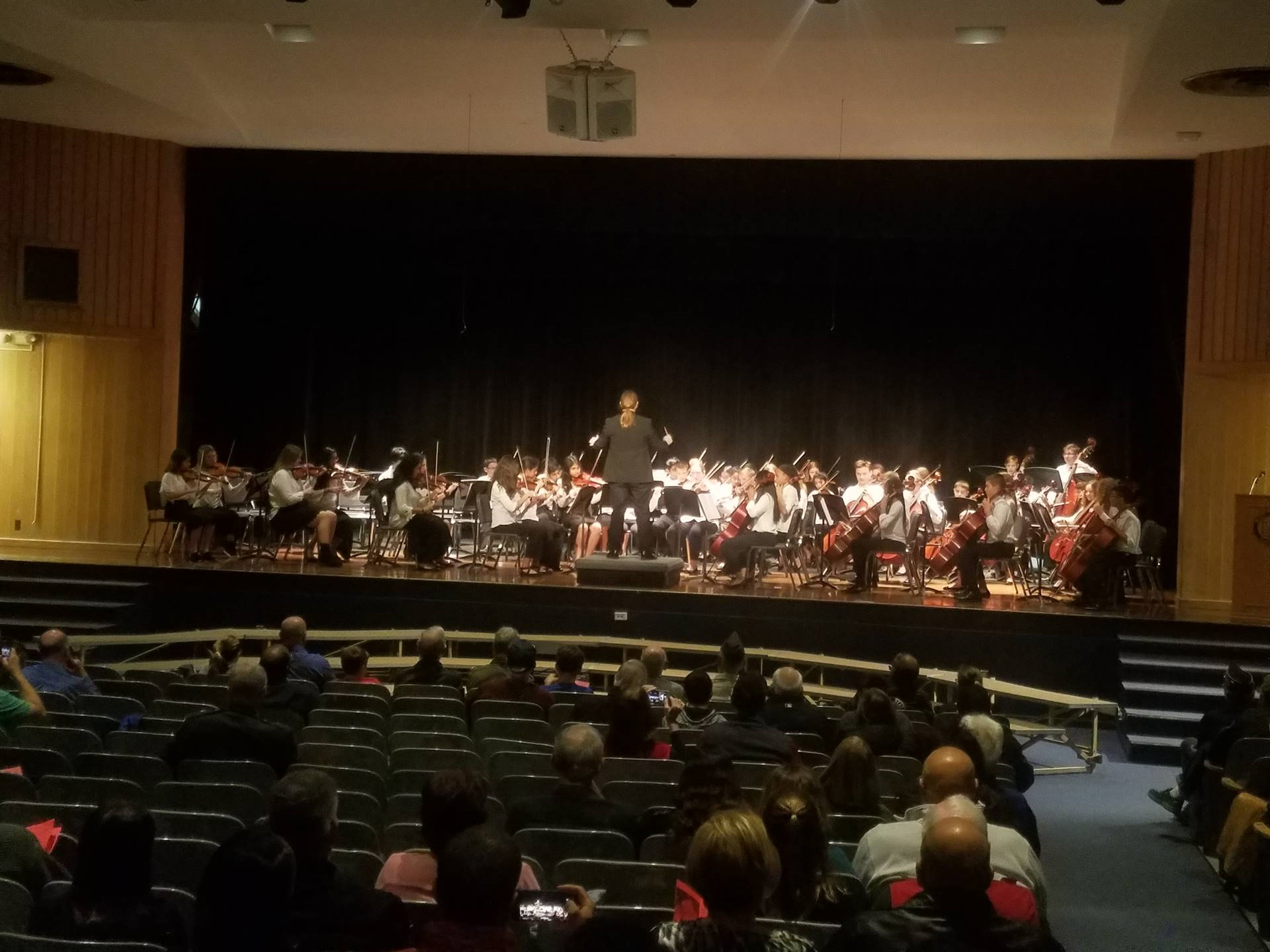 students playing in an orchestra on stage