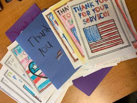 cards made by students thanking military for their service