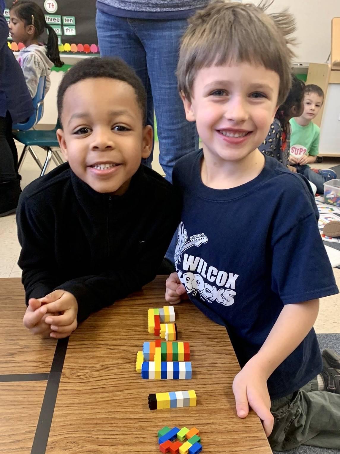 students building blocks