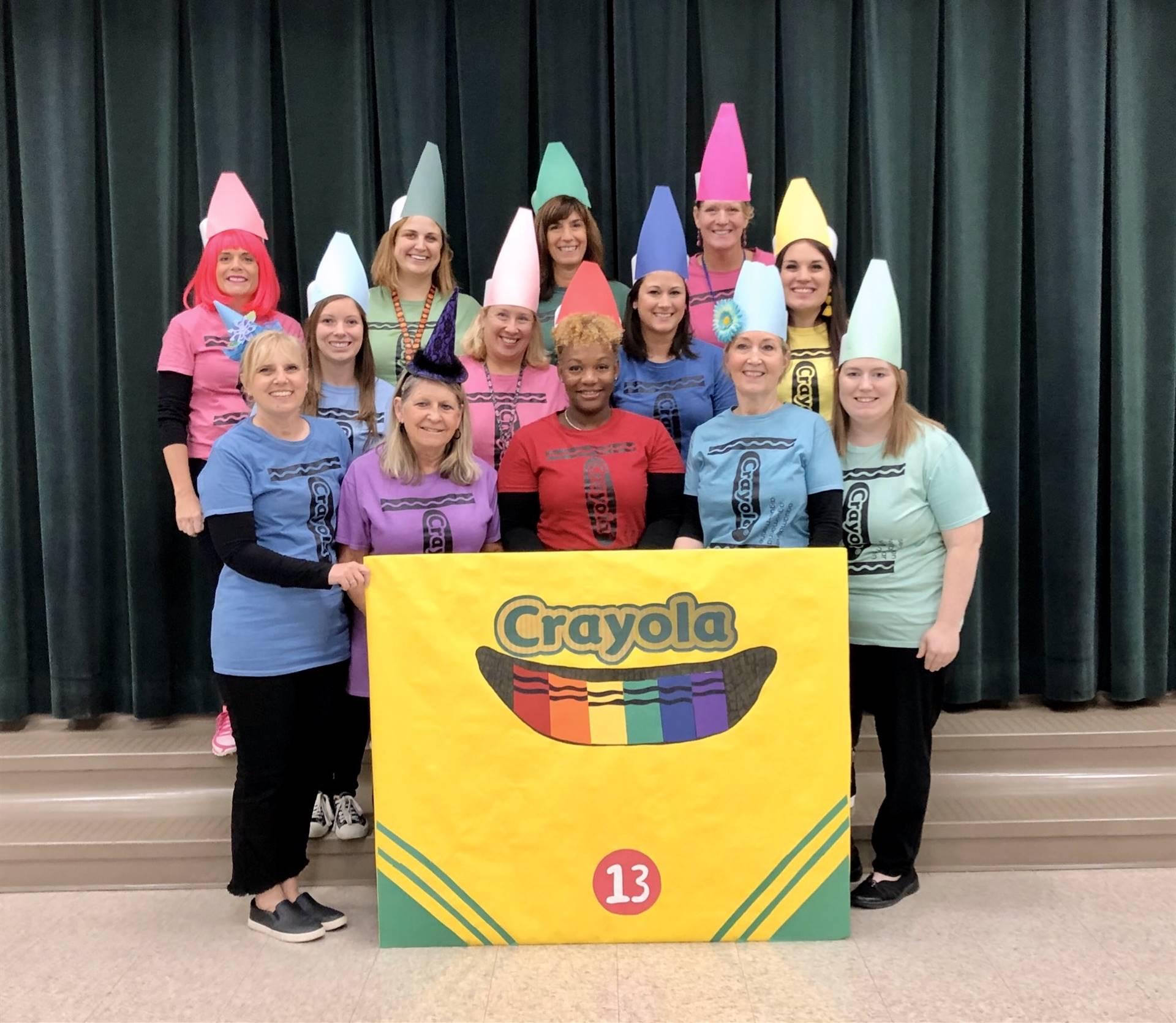 staff dressed like Crayola Crayons