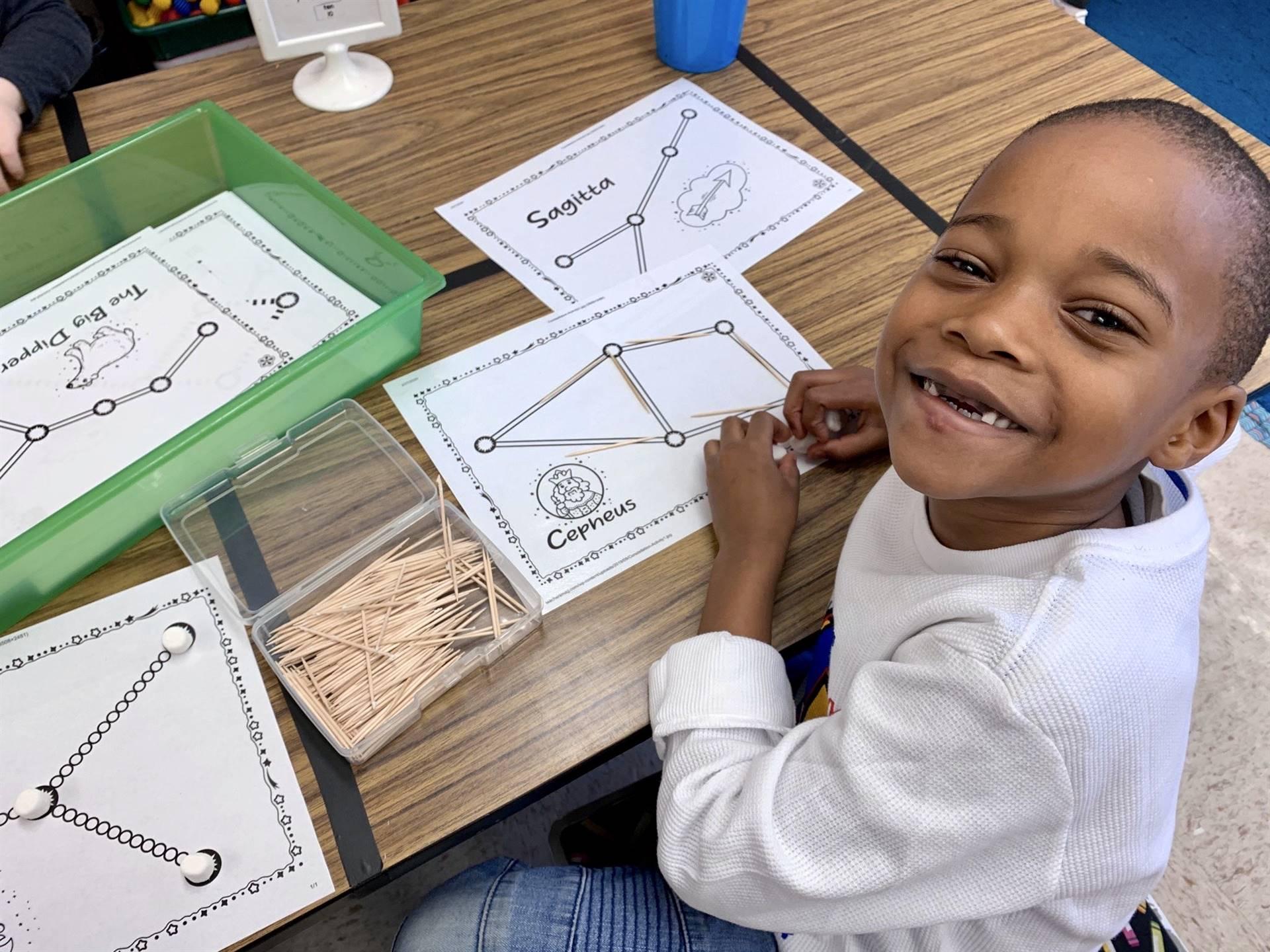 student doing a math activity