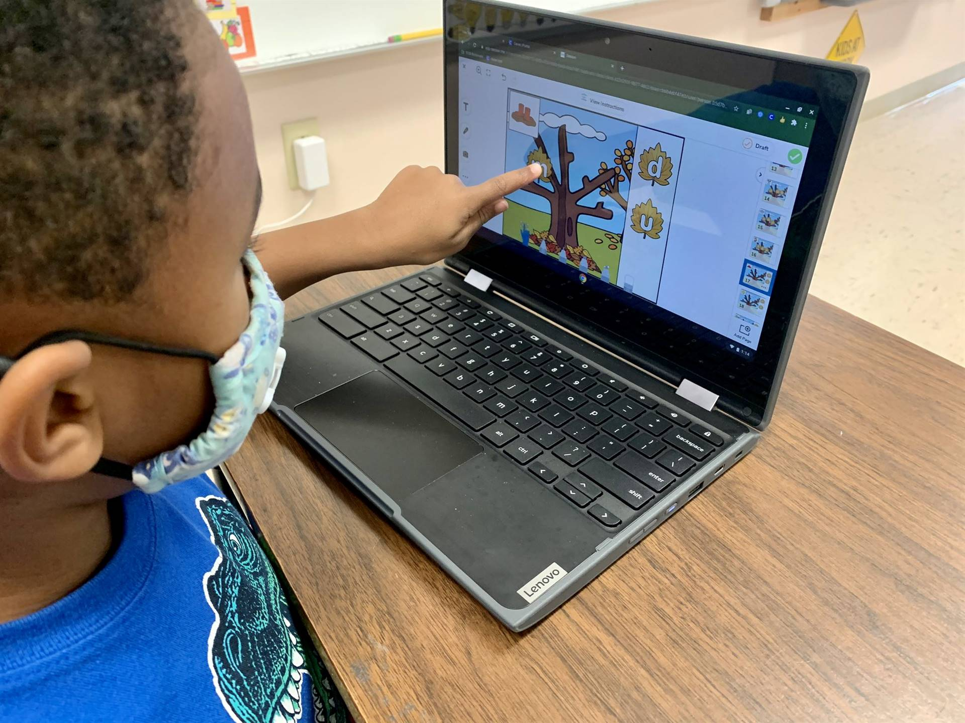Student doing activity on Chromebook