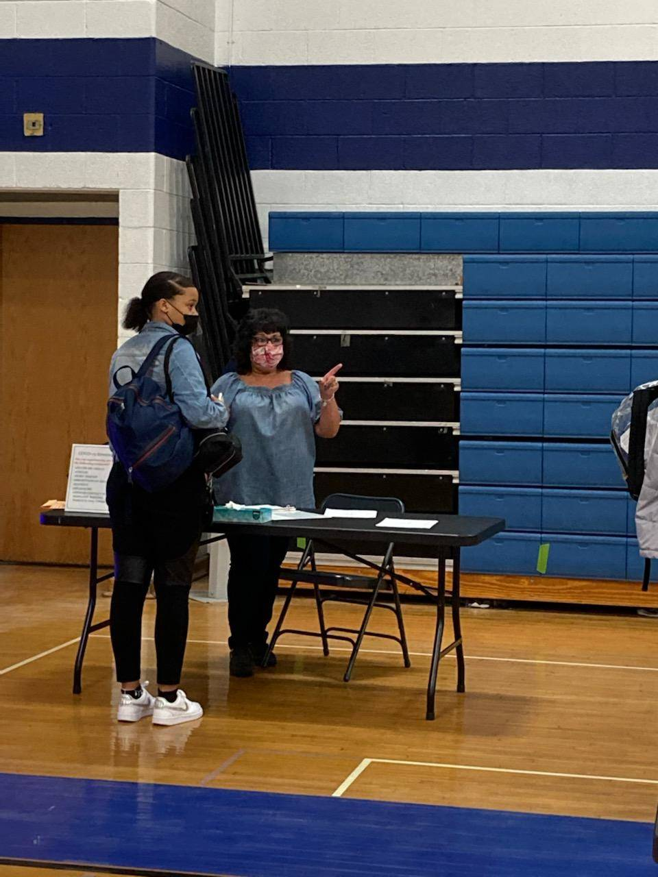 students receiving vaccinations