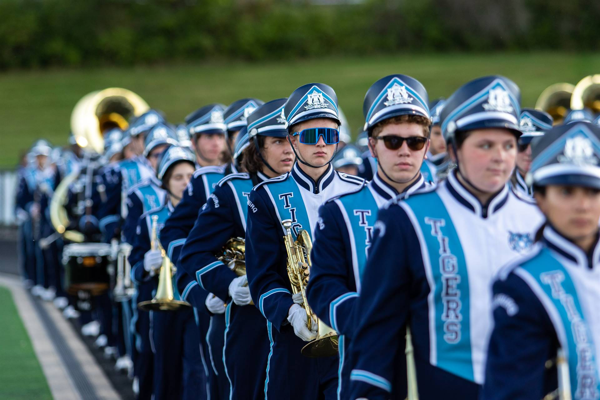 The Marching Band lined up and ready to perform.